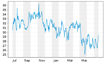 Chart Yelp Inc. Cl.A  - 1 Jahr
