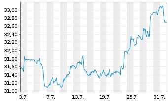 Chart SPDR S&P Emerging Markets ETF - 1 Monat