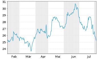 Chart Alkermes PLC - 6 Monate