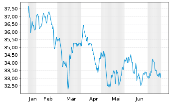Chart SPDR S&P Emerging Markets ETF - 6 Monate